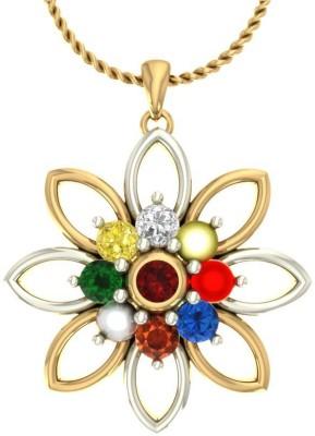 Aurobliss Kumud Navratna 18kt Diamond Yellow Gold Pendant