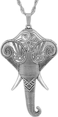 Memoir Ganpati Head Oxidised Look Locket Brass Pendant