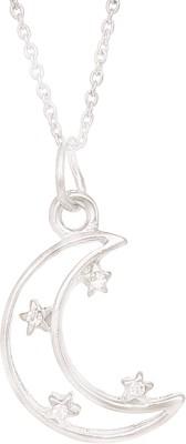 Fine Jewellers Rhodium Cubic Zirconia Alloy Pendant Set