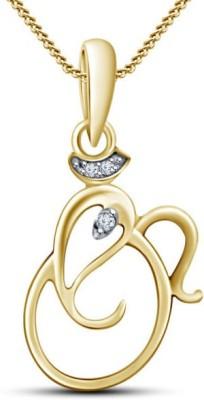 Devina Jewels Ganesha Shape 14K Yellow Gold Diamond Sterling Silver Pendant