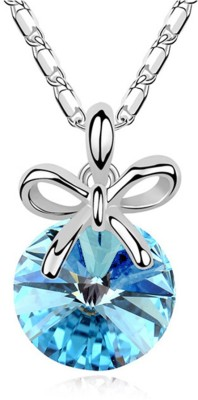 Eterno Rhodium Plated Austrian Crystal Pendant with Chain - Ocean Blue Rhodium Crystal Alloy Pendant