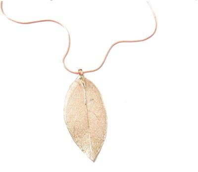 Bohocraft Bohemian Pink Leaf Long Sweater Chain Necklace Metal Pendant