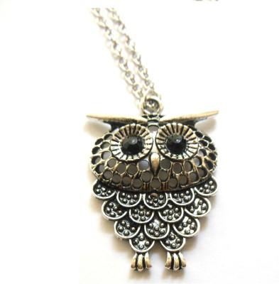 Bohocraft Bohemian Silver Owl Long Sweater Chain Metal Pendant