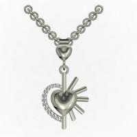 Kanak Jewels Heart Diamond Studded Half Heart Beautiful Designed Rhodium Cubic Zirconia Brass Pendant best price on Flipkart @ Rs. 260