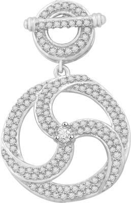 Vijisan 1.94 Ct Fancy Circle White Gold Cubic Zirconia Sterling Silver Pendant