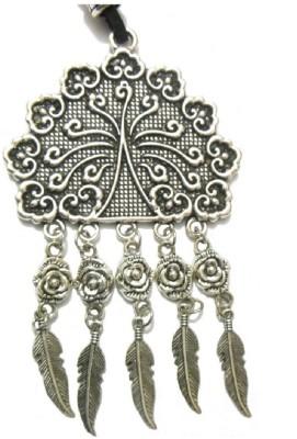 Bohocraft Bohemian Beautifully Carved Tibetan Feather Tasseled Leather, Metal Pendant
