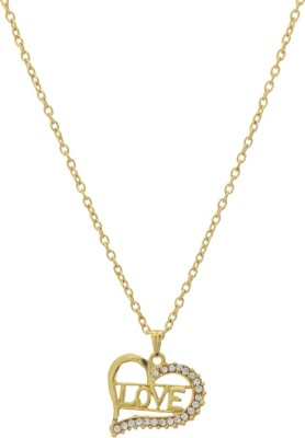 Niara Half Diamond Boarder Love Shaped with Gold Chain Brass Locket