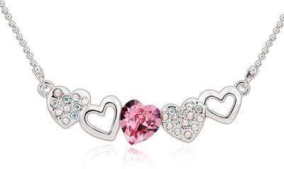 Merastore Multi Hearts Rhodium Swarovski Crystal Alloy Pendant
