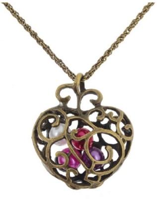 Bohocraft Bohemian Pretty Pearly Heart Bronze Long Chain Metal Pendant