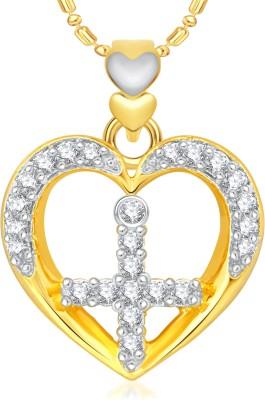 VK Jewels Cross in Heart 18K Yellow Gold Cubic Zirconia Alloy Pendant
