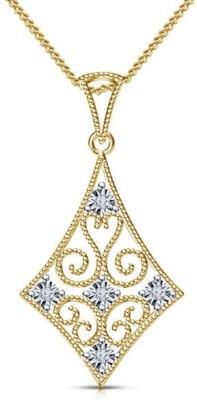 Devina Jewels Kite Shape 14K Yellow Gold Diamond Sterling Silver Pendant