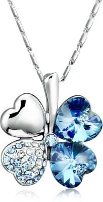 Merastore Double Happiness Rhodium Swarovski Crystal Alloy Pendant