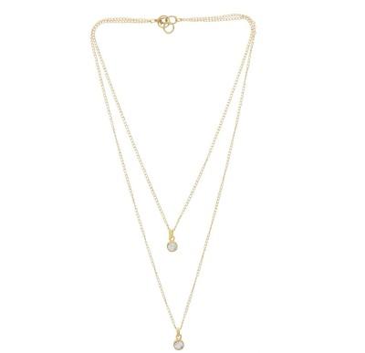 Niara Two Lines Golden Chain Mala with Two Diamond Brass Locket