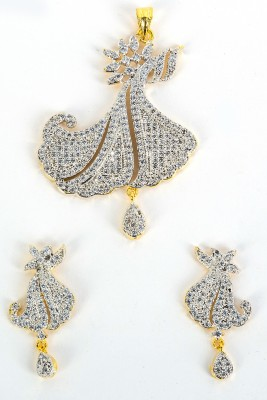 Mega Fashion Rhodium Brass Pendant Set