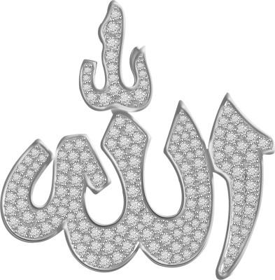 Vijisan 7.06 Ct.Allah Religious Islamic 18K White Gold Cubic Zirconia Sterling Silver Pendant at flipkart