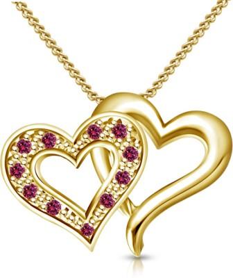 Kirati Heart Design Yellow Gold Sapphire Sterling Silver Pendant