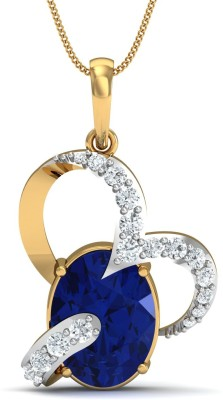 Damor The Frolic 14kt Diamond, Sapphire Yellow Gold Pendant