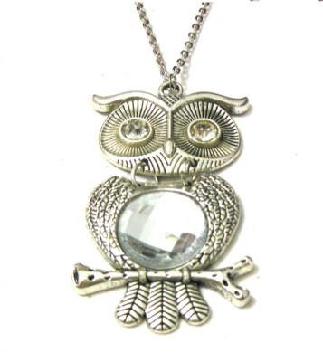 Bohocraft Bohemian Silver Owl Clear Rhinestone Long Chain Stone, Metal Pendant