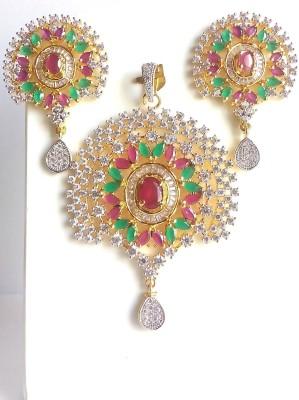 shreejicreations 9K Yellow Gold Cubic Zirconia, Diamond, Ruby Brass Pendant Set