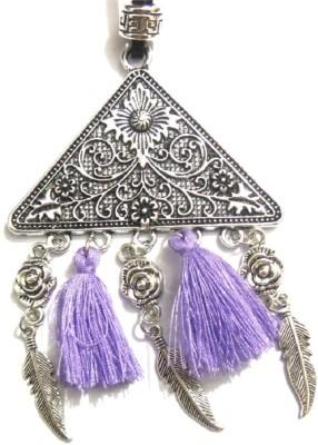 Bohocraft Bohemian Beautifully Carved Tringle Tibetan Feather Tasseled Leather, Metal Pendant