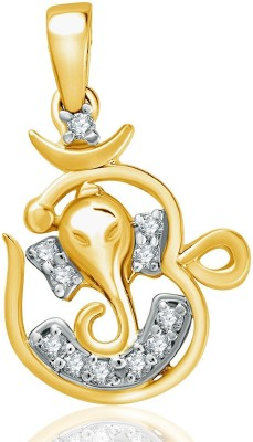 VK Jewels Om Siddhivinayak 18K Yellow Gold Cubic Zirconia Alloy Pendant