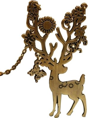 Grimreaperbalaji Solid Bronze Deer with Big Beautiful Horn Decorated with Flowers, Leaves and Dangling Butterfly IMPORTED Bronze Pendant