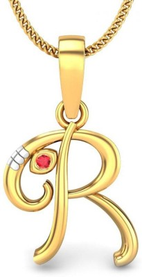 Candere Initial R Vakratunda Ruby Gold Pendant