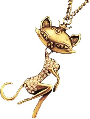 Grimreaperbalaji IMPORTED Beautiful Bronze Curvy Cat with Crown in a White Crystal Dress Brass Quartz Metal Pendant