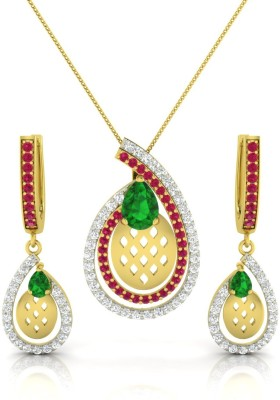 Luminous Jewels Real Diamond Silver Pendant Set available at Flipkart for Rs.34100