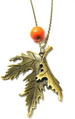 Bohocraft Bohemian Twisted Leaf Long Chain Bronze Alloy Pendant