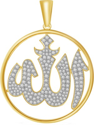 Vijisan 6.06 Ct.Islamic Allah Religious 18K Yellow Gold Cubic Zirconia Sterling Silver Pendant at flipkart