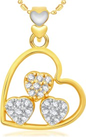 VK Jewels Three Heart 18K Yellow Gold Cubic Zirconia Alloy Pendant