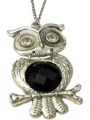 Bohocraft Bohemian Silver Owl Black Rhinestone Long Chain Stone, Metal Pendant