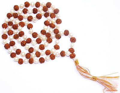 Narayan Religious Shopee Rudraksh With Moti Mala Cotton Dori