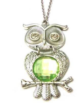 Bohocraft Bohemian Silver Owl Aqua Green Rhinestone Long Chain Stone, Metal Pendant
