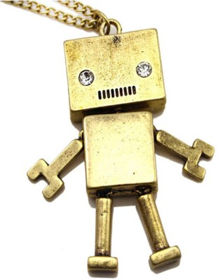 Grimreaperbalaji Brass Box head Robot Pendant with Black Crystal Eyes and moving Hands and Legs in a Leather Strap IMPORTED Brass Quartz Brass
