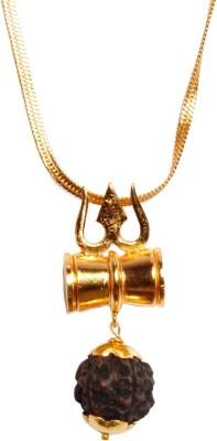 jaipurgemsandhandicrafts Shiva Shakti Kavach With Rudraksha 24K Gold Plated Golden Panchdhatu Alloy Pendant at flipkart