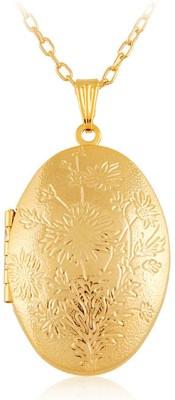 Via Mazzini Oval Photo Locket Pendant (NK0395) 18K Yellow Gold Metal