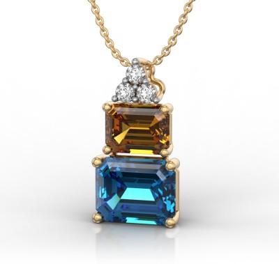 I Love Diamonds Mystery of the Mayan Pyramid 18K Yellow Gold Diamond, Topaz, Citrine Yellow Gold Pendant