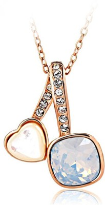 Merastore Joined Hearts Rhodium Swarovski Crystal Alloy Pendant