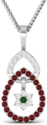 Vijisan 0.44 CT Fashion Drop With Flower 18K White Gold Cubic Zirconia, Ruby, Emerald Sterling Silver Pendant