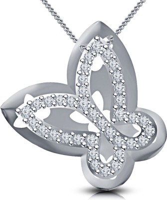 Kirati Love Forever Butterfly Shape Platinum Cubic Zirconia Silver Pendant available at Flipkart for Rs.2596
