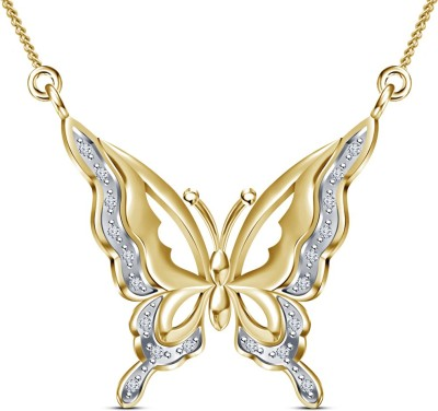 Kirati Graceful Butterfly Shape 14K Yellow Gold Cubic Zirconia Sterling Silver Pendant available at Flipkart for Rs.2807