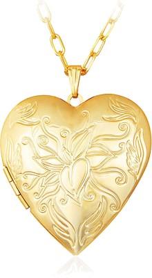 Via Mazzini Heart Photo Locket Pendant (NK0396) 18K Yellow Gold Metal