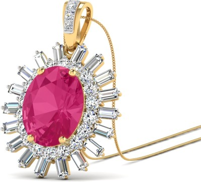 WearYourShine by PC Jewellers The Oline 18kt Diamond, Ruby Yellow Gold Pendant at flipkart