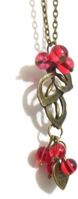 Bohocraft Bohemain Beautiful Bunched Cherries on Leaf Long Chain Glass, Metal Pendant