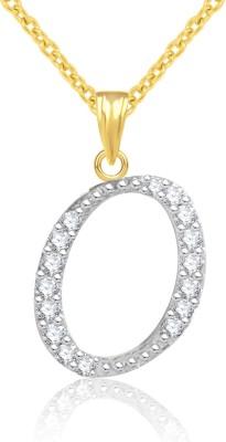 Jewelscart.in Alphabet Letter O Rhodium Cubic Zirconia Alloy Pendant