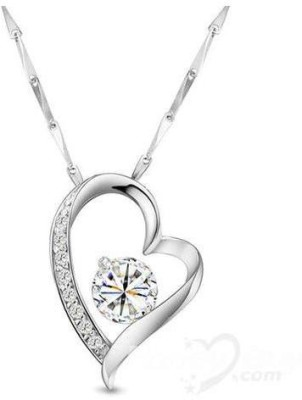 S S Jewellers Platinum Swarovski Crystal Sterling Silver Pendant at flipkart