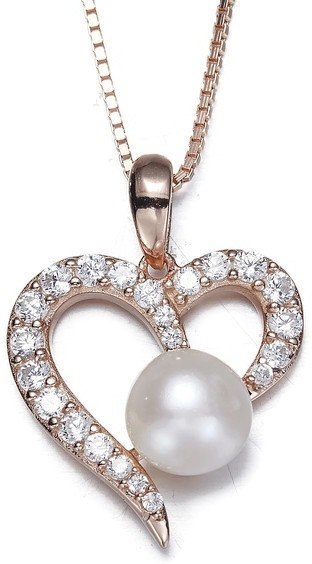 NEVI Heart Rose Gold Zircon, Pearl Silver Pendant
