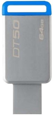 Kingston USB 3.0 Data Traveler 50- 64 GB Pen Drive(Silver) at flipkart